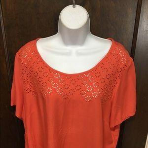 Chico's women size 2 Orange rayon tunic blouse EUC
